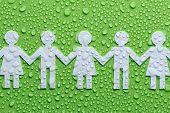 stock photo of world health organization  - Chain of paper people on a green background - JPG