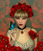 pic of chokers  - Portrait of a Girl with red Poppies in her Hair - JPG