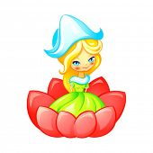 foto of thumbelina  - Cute Thumbelina fairy in flower isolated - JPG