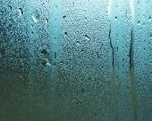 stock photo of rough-water  - Water drops on steamed up window  - JPG