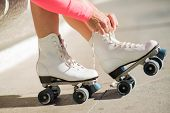 stock photo of roller-skating  - Close - JPG