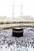 stock photo of mekah  - Muslims from all around the world praying in the Kaaba at Makkah - JPG
