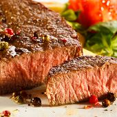 stock photo of barbecue grill  - Grilled steak - JPG