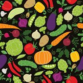 stock photo of aubergines  - seamless pattern on a black background  - JPG