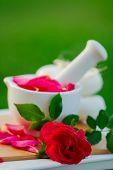 Постер, плакат: Лепестки роз в ступе Альтернативная медицина концепция здорового косметики