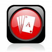 playing cards black and red square web glossy icon