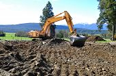 stock photo of dumpster  - Excavators clearing land for a construction site - JPG