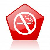 no smoking red web glossy icon