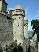 stock photo of montre  - Ancient towers of the famous Chillon Castle - JPG