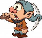 stock photo of  midget elves  - Cartoon dwarf miner - JPG