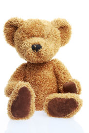 stock photo of stuffed animals  - stuffed teddy bear isolated on white shot in studio - JPG