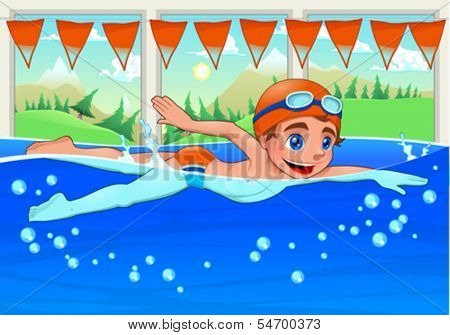 Young swimmer in the swimming pool. Funny cartoon and vector illustration.