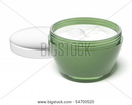 Cosmetics cream in green package