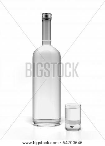 Bottle of vodka and empty shot glass