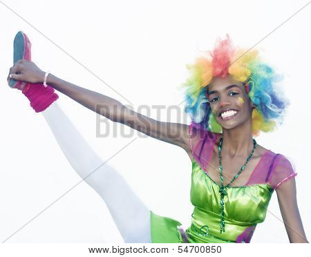 Cheerful Female Clown Gymnastics