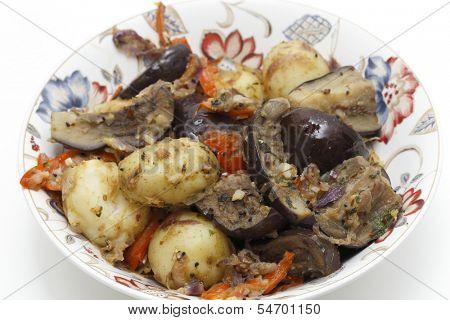Balti style aubergine (eggplant) and potato curry, high angle