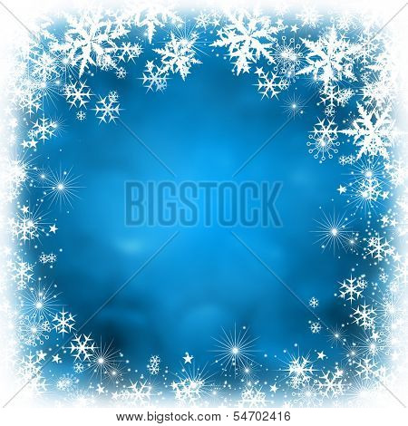 Blue shiny stars and snowflakes christmas bokeh background