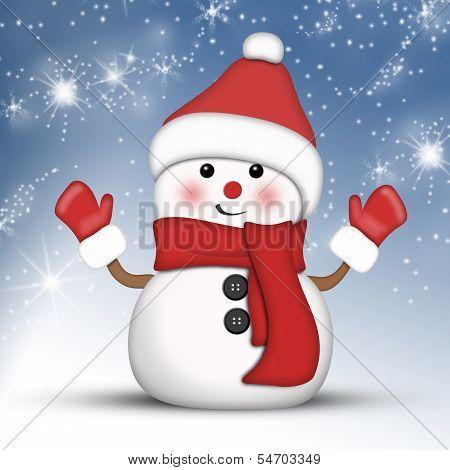 Amusing snowman on a bright winter night