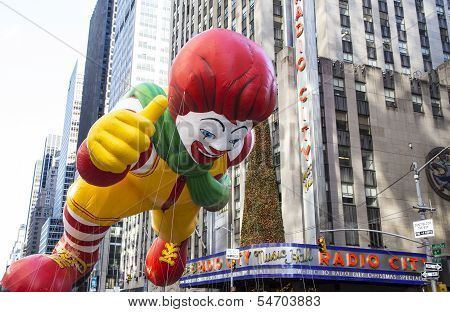 Ronald McDonald passes Radio City Music Hall
