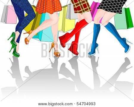 legs of four girls with Shopping Bags