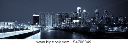 Panoramic Skyline Of Philadelphia  By Night  By Night