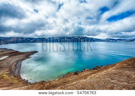 Oskjuvatn lake is the second deepest lake on the Iceland and is located in the caldera of the volcano Askja