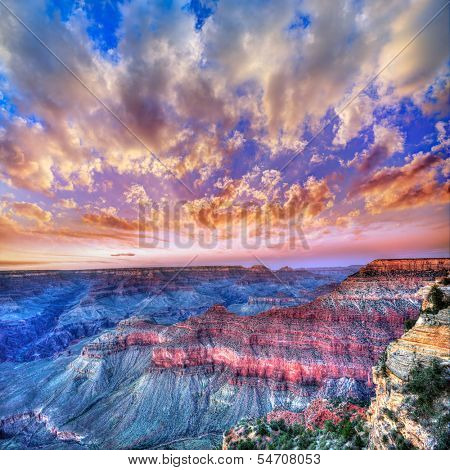 Arizona sunset Grand Canyon National Park Mother Point in USA