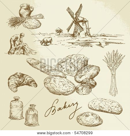 bakery, rural landscape, bread - hand drawn set