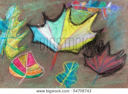 Children Drawing - Autumn Leaves On Brown