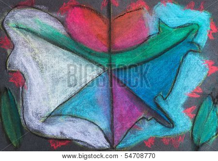 Children Drawing - Abstract Fall Leaf