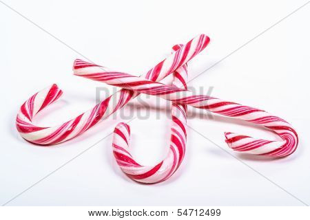 Three Twisted Red And White Candy Canes