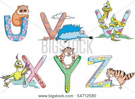 Funny Childish Letters Uvwxyz