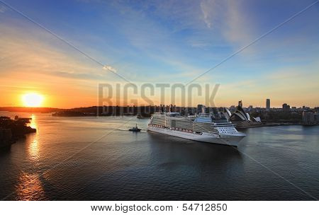 Celebrity Solstice Arriving In Sydney, Australia At Dawn