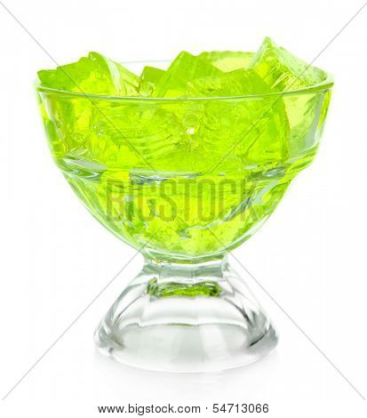Tasty jelly cubes in bowl isolated on white