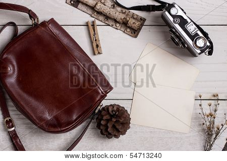 Retro Leather Bag And Photo