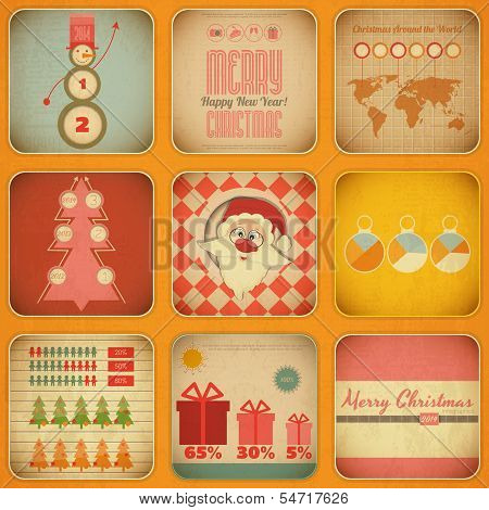 Vintage Christmas Infographic With Santa Claus