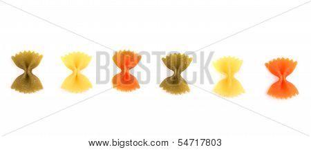 Pasta farfalle three colors.