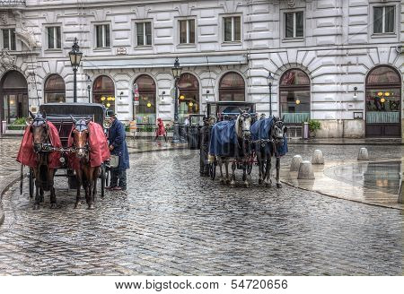 Fiacres Horse Cabs On The Street Of Vienna
