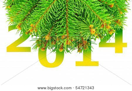New Year, Christmas Tree With Toys Isolated On A White Background.