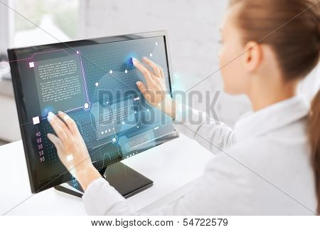 business, office, money and new technology concept - smiling businesswoman with touchscreen in office