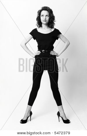 Young Harmonous Lady In Shoes