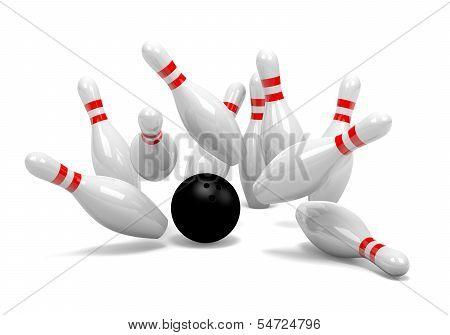Bowling Strike Of Skittles