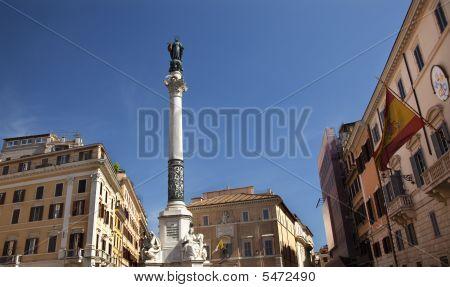 Piazza Mignanelli Colonna Dell Immacoloata Column Spanish Embassy Roman Streets Rome Italy