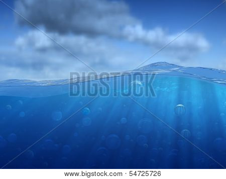 Under Water With Bubbles And Sky