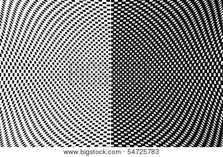 Abstract Black And White Background With Black Squares Array In A Concave Shape