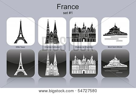 Landmarks of France. Set of monochrome icons. Editable vector illustration.