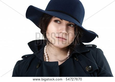 Portrait Of A Young Coquette In Blue Hat