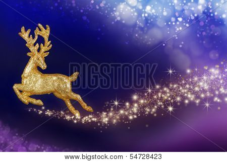 Christmas Magic With Golden Reindeer