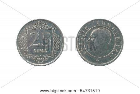 Twenty Five Turkish Kurush Coin