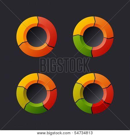 Circular Chart Template Set. Vector
